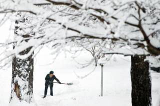 A woman shovels snow (File picture)