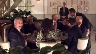 Nigel Farage, Donald Trump and others at a dinner table