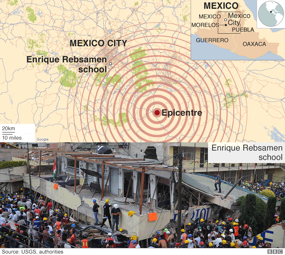 Map showing location of the quake