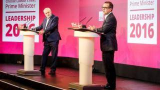 Jeremy Corbyn and Owen Smith at the Labour hustings