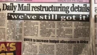 """Un article écrit en mandarin sur la une du """"Times of Zambia"""" de ce mardi 10 octobre 2018"""