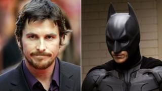 Christian Bale in the flesh and as Batman in The Dark Knight
