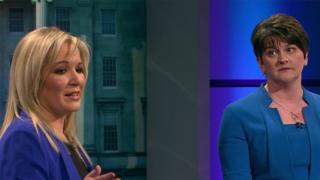 Sinn Féin's Michelle O'Neill and DUP leader Arlene Foster