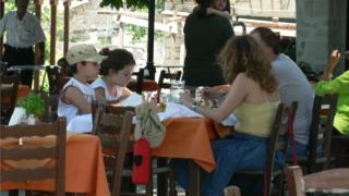 Family in Greek Cafe