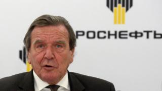 Former German Chancellor Gerhard Schroeder, newly elected chairman of the board of directors of Russia's oil giant Rosneft, speaks at a briefing in Saint Petersburg on Friday