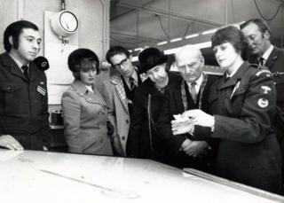 Ann Metcalfe in the 1960s demonstrating her role to visiting dignitaries at York Cold War bunker