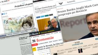 Composite image shows European newspaper articles on Brexit