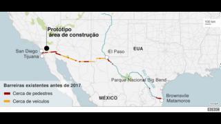 Mapa mostrando as barreiras atuais na fronteira EUA-México