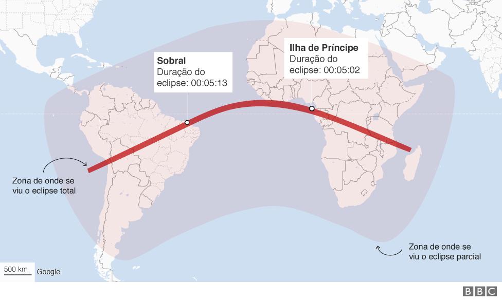 Mapa da trajetória do eclipse