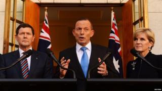 Australian Prime Minister Tony Abbott flanked by Kevin Andrews and Julie Bishop - 9 September