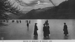Frozen Rudyard Lake, circa 1910
