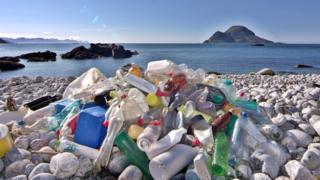 Plastic bottles for beach