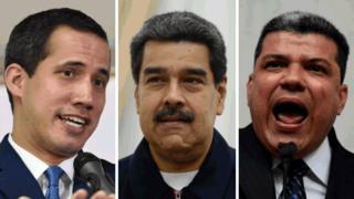 Juan Guaidó, Nicolás Maduro, Luis Parra.