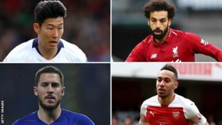 Son Heung-min, Mohamed Salah, Eden Hazard and Pierri-Emerick Aubameyang