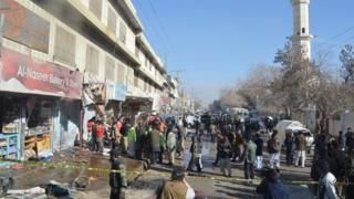 Scene of the bomb blast in Quetta, Pakistan, on 13 January 2016