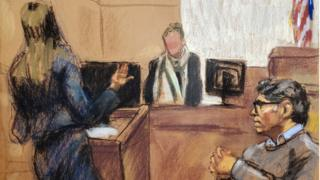 Keith Raniere selama persidangan di pengadilan federal Brooklyn.