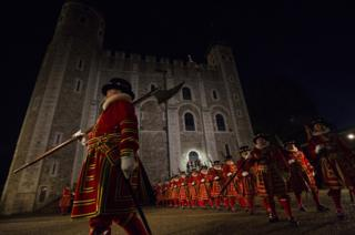 Yeoman Warders known as Beefeaters, parade during the installation of General Sir Nicholas Houghton as the 160th Constable of the Tower of London during a ceremony in front of the White Tower at Tower of London.