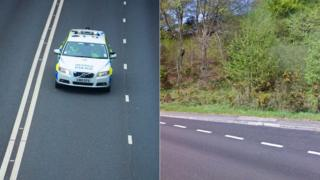 A police car and the A472