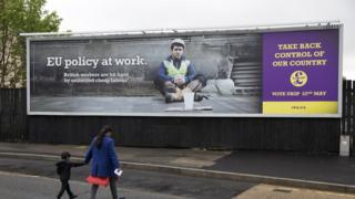 A United Kingdom Independence Party (UKIP) poster is displayed on April 26, 2014 in Luton, England