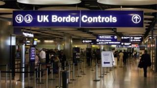 Border check at airport
