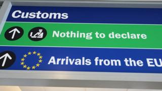 Sign for customs at airport