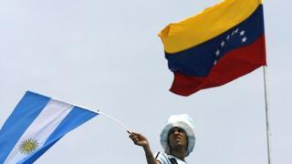 Banderas de Argentina y Venezuela