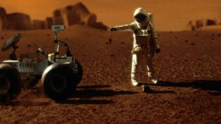Artists impression of an astronaut on Mars