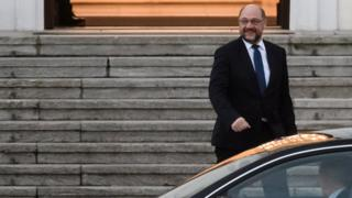 The leader of the Social Democratic Party (SPD), Martin Schulz leaves after a meeting with German President Frank-Walter Steinmeier