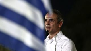 Kyriakos Mitsotakis, speaks during a pre-election rally on 4 July
