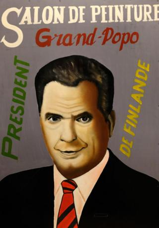 Painted portrait of Finnish President Sauli Niinisto
