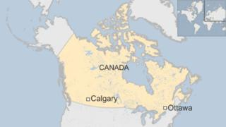 map of Canada showing Calgary and the capital, Ottawa