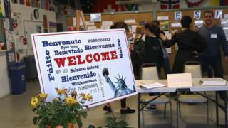 2016年12月的這堂英語課是由康涅狄格州(Connecticut )的一個非盈利組織為剛到美國的新移民提供的