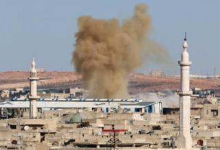 Дым над восточной частью Алеппо