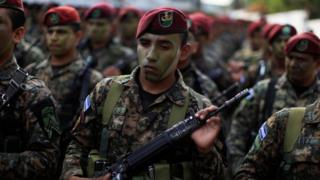Members of the Special Reaction Force, a combined army-police unit, participate in a presentation ceremony prior to their deployment to deal with gang violence in San Salvador, April 2016