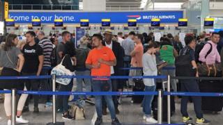 Queues at Terminal 5 at Heathrow Airport like the United Kingdom