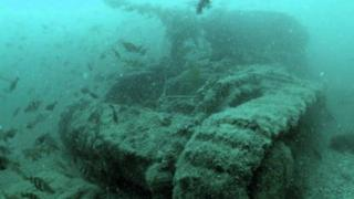 One of the sunken Valentine Tanks in Studland Bay