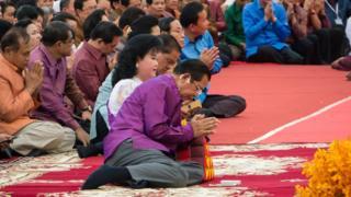 柬埔寨首相洪森在吳哥窟的祈福大會上