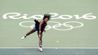"Serena Williams in action against Daria Gavrilova during the women""s singles first round at the Olympic Tennis Centre on the second day of the Rio Olympics Games, Brazi"