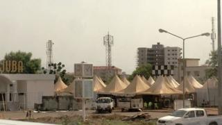 A makeshift terminal of tents at Juba Airport in Juba, South Sudan