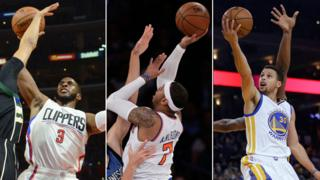 Basketball stars Chris Paul, Carmelo Anthony and Stephen Curry