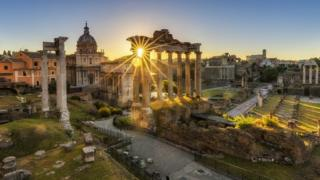 Sunrise at the Temple of Saturn at the Roman Forum, Rome, Italy