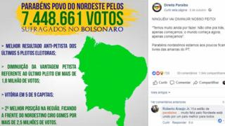 Publicação em página de apoio a Bolsonaro