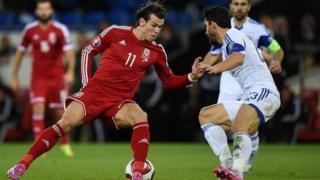 Gareth Bale yn erbyn Cyprus yng Nghaerdydd