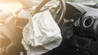 car airbag which has gone off