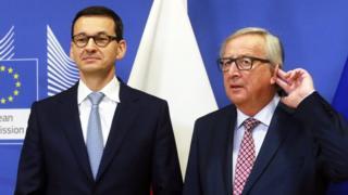 Polish Prime Minister Mateusz Morawiecki (left) in Brussels