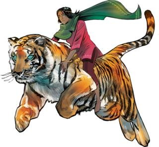 Priya Shakti riding her pet tiger Sahas