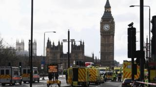 Police and ambulances at scene of the attacks near the Houses of Parliament