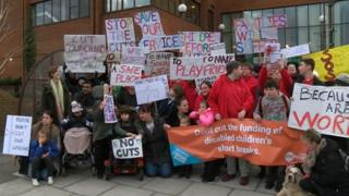 Protest against cuts to Mencap children's services in West Berkshire.