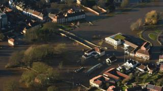 Aerial shot of flooding in Tadcaster December 2015