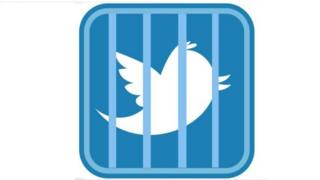 Twitter users circulating the logo of twitter behind bars